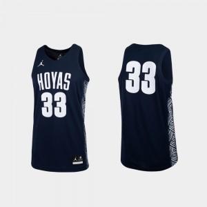 Georgetown Hoyas Jersey #33 Navy Replica College Basketball Mens