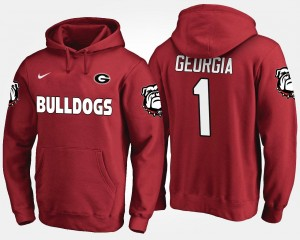 Georgia Bulldogs Hoodie Red #1 No.1 Mens