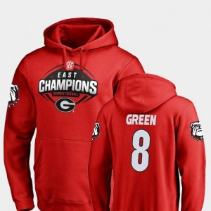 Georgia Bulldogs A.J. Green Hoodie Football #8 For Men Red 2018 SEC East Division Champions