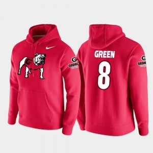 Georgia Bulldogs A.J. Green Hoodie For Men's College Football Pullover #8 Red Vault Logo Club