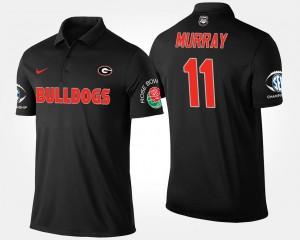 Georgia Bulldogs Aaron Murray Polo Men's Black Southeastern Conference Rose Bowl #11 Bowl Game