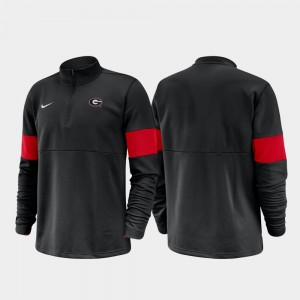 Georgia Bulldogs Jacket For Men's 2019 Coaches Sideline Black Half-Zip Performance