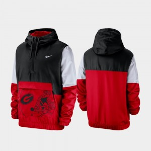 Georgia Bulldogs Jacket For Men's Quarter-Zip Black Colorblock Anorak