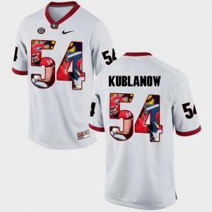 Georgia Bulldogs Brandon Kublanow Jersey Mens White Pictorial Fashion #54