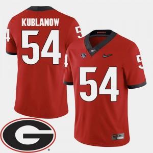 Georgia Bulldogs Brandon Kublanow Jersey Men's 2018 SEC Patch College Football #54 Red