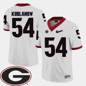 Georgia Bulldogs Brandon Kublanow Jersey College Football 2018 SEC Patch White #54 For Men