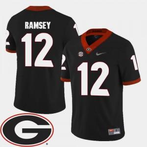 Georgia Bulldogs Brice Ramsey Jersey 2018 SEC Patch #12 College Football Black Mens
