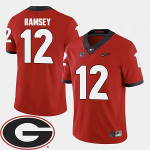 Georgia Bulldogs Brice Ramsey Jersey Men's Red 2018 SEC Patch #12 College Football