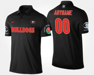 Georgia Bulldogs Customized Polo Black #00 Men's Southeastern Conference Rose Bowl Bowl Game