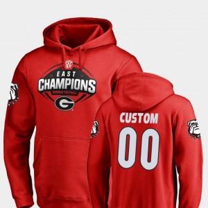 Georgia Bulldogs Custom Hoodie Football Men's #00 2018 SEC East Division Champions Red