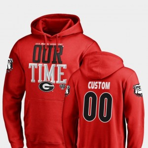 Georgia Bulldogs Custom Hoodie #00 Counter 2019 Sugar Bowl Bound For Men's Red