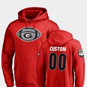 Georgia Bulldogs Customized Hoodies Football Game Ball Red #00 For Men's