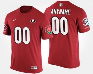 Georgia Bulldogs Custom T-Shirt Southeastern Conference Rose Bowl Men's #00 Bowl Game Red