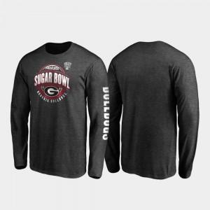 Georgia Bulldogs T-Shirt For Men's 2020 Sugar Bowl Bound Neutral Stiff Arm Long Sleeve Heather Charcoal