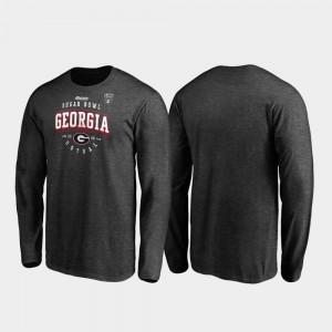Georgia Bulldogs T-Shirt Heather Gray Tackle Long Sleeve For Men's 2020 Sugar Bowl Bound