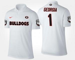 Georgia Bulldogs Polo White #1 Mens No.1 Short Sleeve