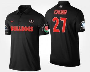 Georgia Bulldogs Nick Chubb Polo Bowl Game Southeastern Conference Rose Bowl Black #27 Mens