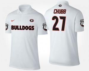 Georgia Bulldogs Nick Chubb Polo White #27 For Men's