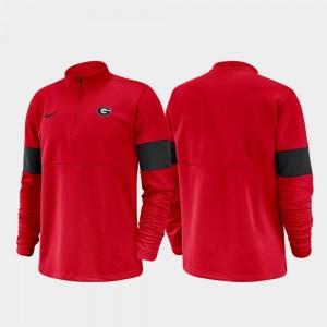 Georgia Bulldogs Jacket Red 2019 Coaches Sideline Men's Half-Zip Performance