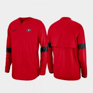 Georgia Bulldogs Jacket For Men's 2019 Coaches Sideline Quarter-Zip Red