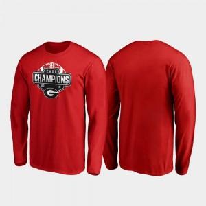 Georgia Bulldogs T-Shirt 2019 SEC East Football Division Champions Men's Long Sleeve Red