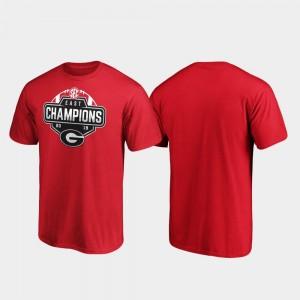 Georgia Bulldogs T-Shirt Men 2019 SEC East Football Division Champions Red