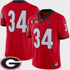 Georgia Bulldogs Jersey #34 Red 2018 National Championship Playoff Game Mens College Football