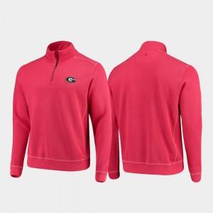 Georgia Bulldogs Jacket Red Mens College Sport Nassau Half-Zip Pullover Tommy Bahama