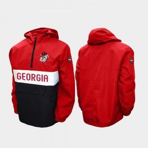Georgia Bulldogs Jacket Half-Zip Alpha Anorak Pullover For Men Red
