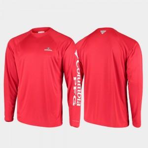 Georgia Bulldogs T-Shirt PFG Terminal Tackle Long Sleeve Red Omni-Shade Men's