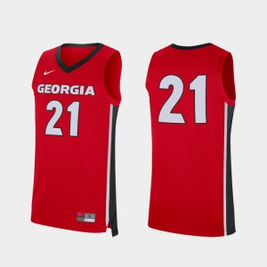 Georgia Bulldogs Jersey For Men Replica Red College Basketball #21
