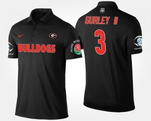 Georgia Bulldogs Todd Gurley II Polo Black #3 Southeastern Conference Rose Bowl Bowl Game Men