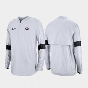 Georgia Bulldogs Jacket 2019 Coaches Sideline White Quarter-Zip Mens