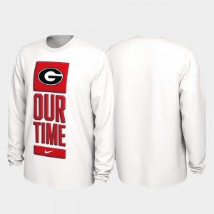 Georgia Bulldogs T-Shirt Our Time Bench Legend Mens White 2020 March Madness