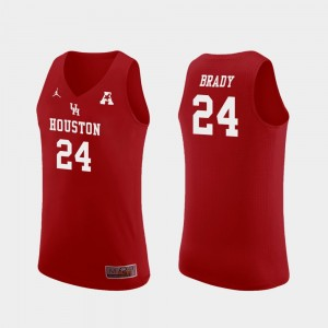 Houston Cougars Breaon Brady Jersey Mens #24 Replica Red College Basketball
