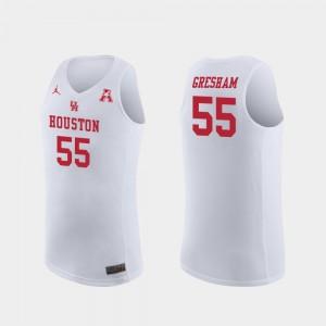 Houston Cougars Brison Gresham Jersey Replica #55 White Men's College Basketball