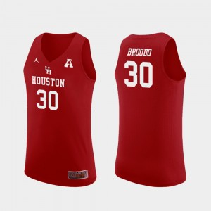 Houston Cougars Caleb Broodo Jersey Red Replica College Basketball #30 For Men's