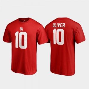 Houston Cougars Ed Oliver T-Shirt College Legends For Men Name & Number Red #10