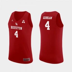 Houston Cougars Justin Gorham Jersey #4 Replica College Basketball Red Men