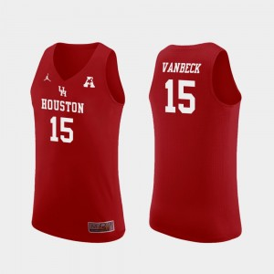 Houston Cougars Neil VanBeck Jersey Replica #15 College Basketball For Men Red