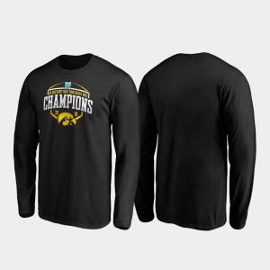 Iowa Hawkeyes T-Shirt Black For Men's 2019 Holiday Bowl Champions Corner Long Sleeve