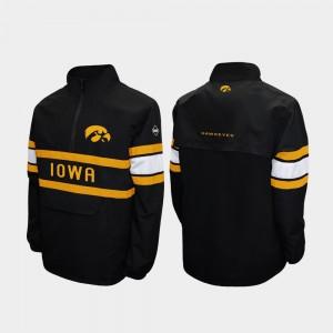 Iowa Hawkeyes Jacket Quarter-Zip Alpha Windshell Pullover Black For Men