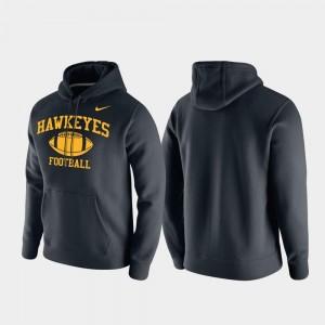 Iowa Hawkeyes Hoodie Black Retro Football Club Fleece Men's