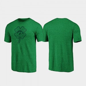 Iowa Hawkeyes T-Shirt For Men's Green St. Patrick's Day Celtic Charm Tri-Blend