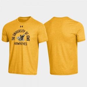 Iowa Hawkeyes T-Shirt Arched Logo Throwback Heathered Gold Men's