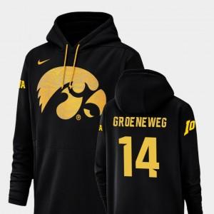Iowa Hawkeyes Kyle Groeneweg Hoodie For Men's Football Performance Black #14 Champ Drive