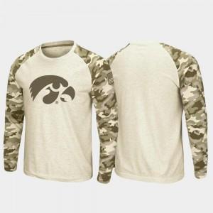 Iowa Hawkeyes T-Shirt For Men's Oatmeal Raglan Long Sleeve Desert Camo OHT Military Appreciation