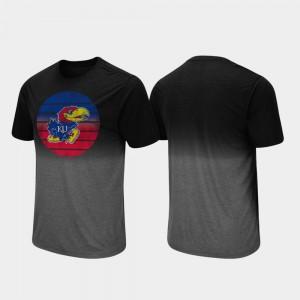 Kansas Jayhawks T-Shirt Fancy Walking Black Dip Dye Men's