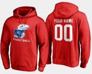 Kansas Jayhawks Custom Hoodie Men's #00 Basketball - Red