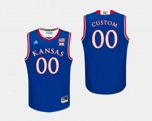 Kansas Jayhawks Custom Jersey Royal #00 Men's College Basketball